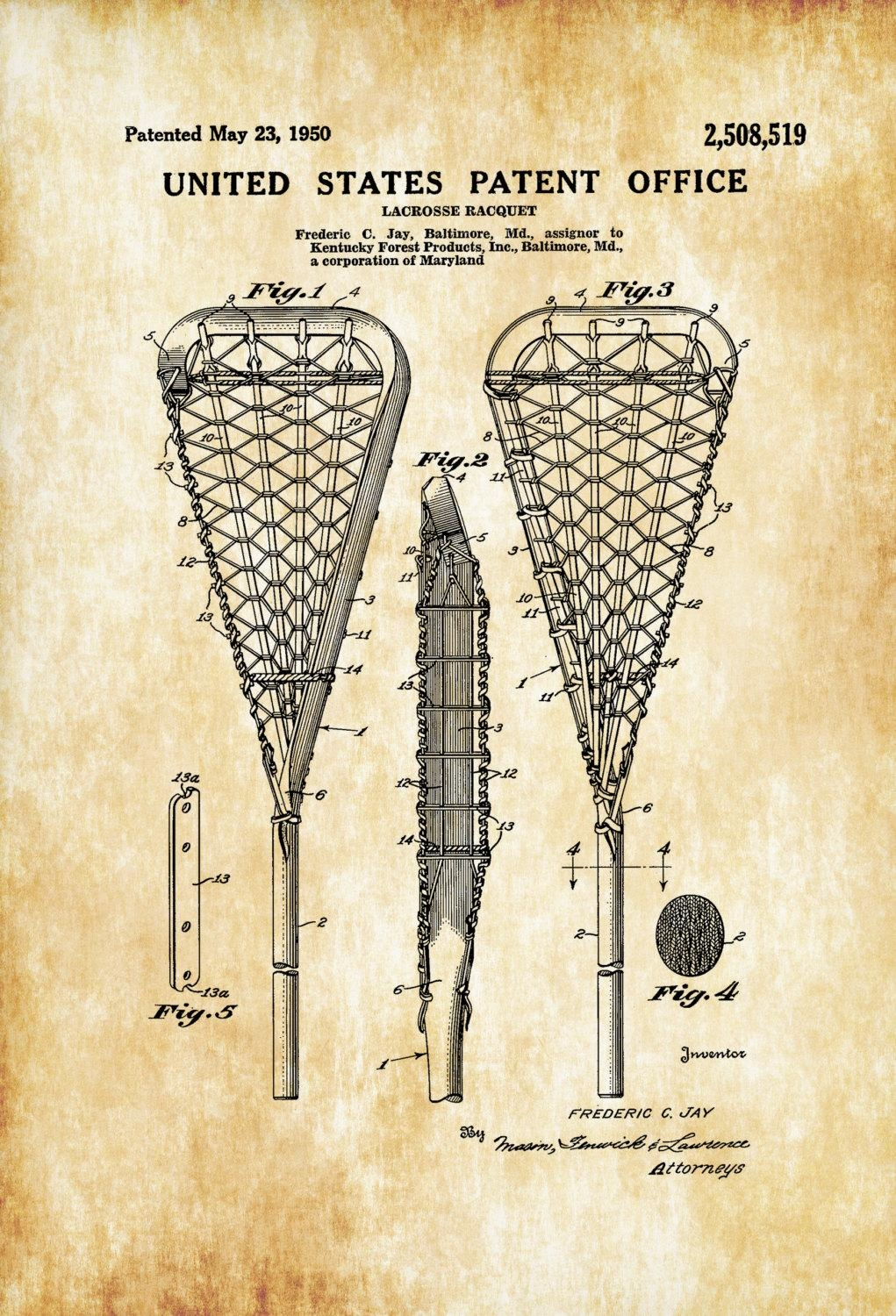 Lacrosse Racquet Patent – Patent Print, Wall Decor, Lacrosse Art With Regard To Lacrosse Wall Art (View 11 of 20)