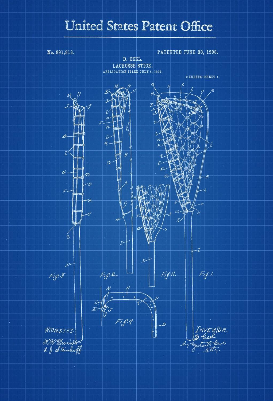 Lacrosse Stick Patent – Patent Print, Wall Decor, Lacrosse Art Within Lacrosse Wall Art (Image 13 of 20)