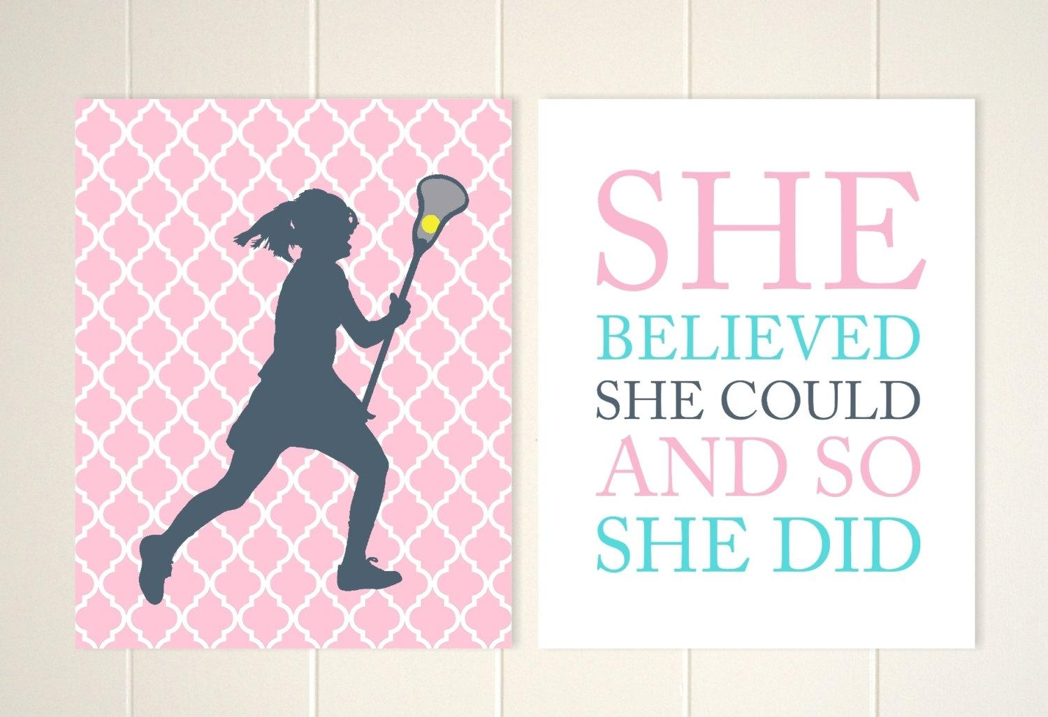 Lacrosse Wall Art Girls Room Wall Art Lacrosse Room Decor In Inspirational Wall Art For Girls (Image 13 of 20)