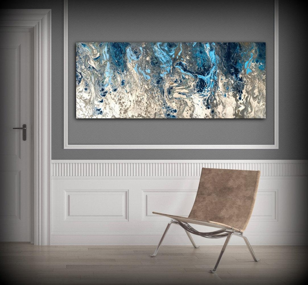 Large Abstract Painting Print Navy Blue Print Art Large Canvas Throughout Gray And White Wall Art (Image 12 of 20)