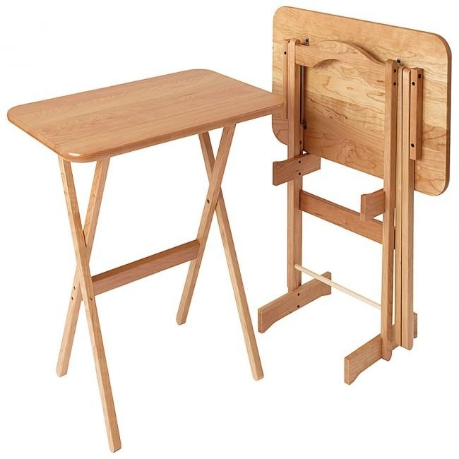 Large Cherry Wood Folding Tv Tray Set Of 2 – Manchester Wood In Most Popular Folding Tv Tray (View 5 of 20)