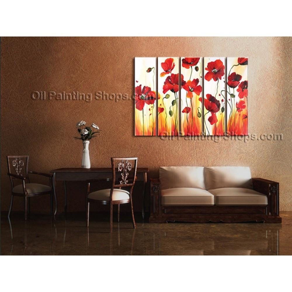 Large Contemporary Wall Art Floral Painting Poppy Flower Gallery For Extra Large Contemporary Wall Art (Image 10 of 20)