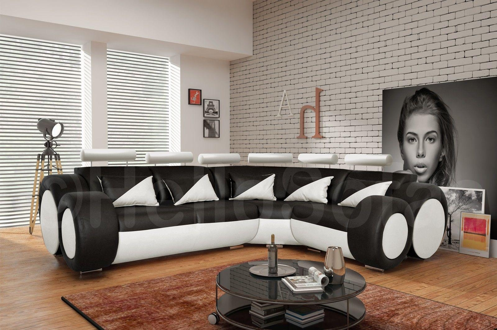Large Corner Sofa In Black Seats White Sofas Fashion With Images With Large Black Leather Corner Sofas (Image 13 of 22)