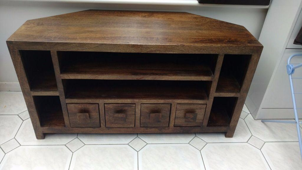 Large Corner Tv Cabinet Carnell Wooden Corner Tv Stand In Solid Throughout Most Current Large Corner Tv Stands (View 16 of 20)