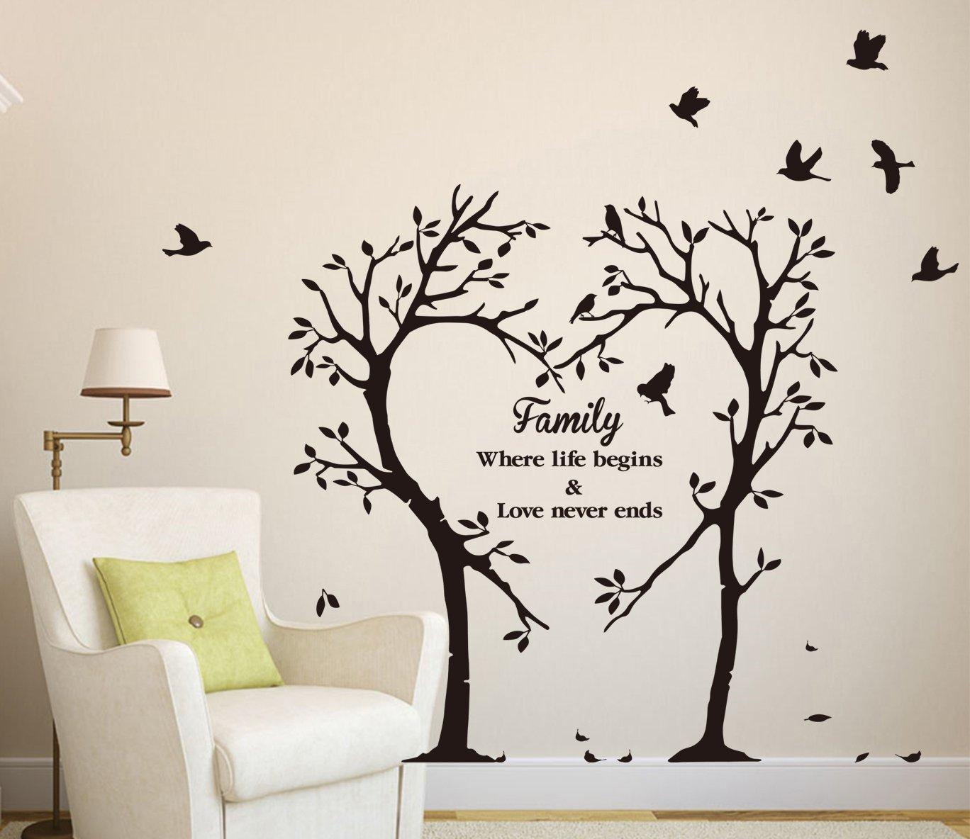Large Family Inspirational Love Tree Wall Art Sticker, Wall Inside Tree Of  Life Wall Art