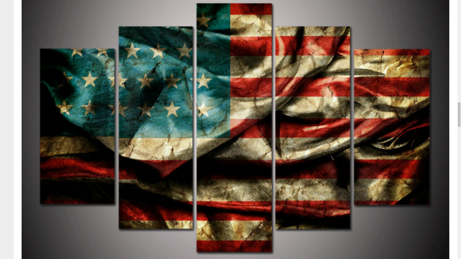 Large Framed American Flag Canvas Print Five Piece Wall Art Home Throughout Five Piece Wall Art (View 13 of 20)