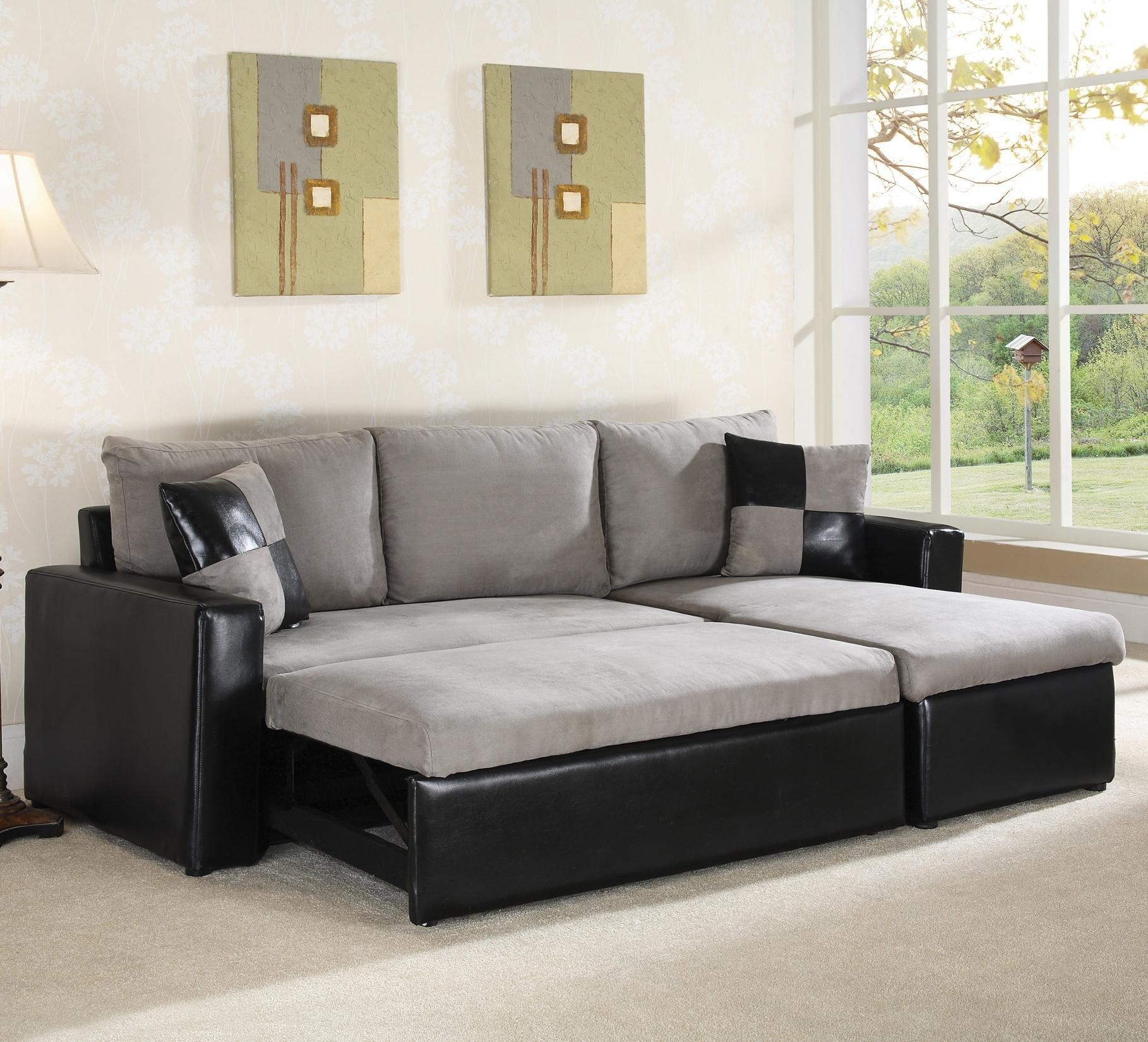 Large Grey Sleeper Sofa With Black Leather Base And Grey Black With Black Leather Sectional Sleeper Sofas (Image 9 of 21)