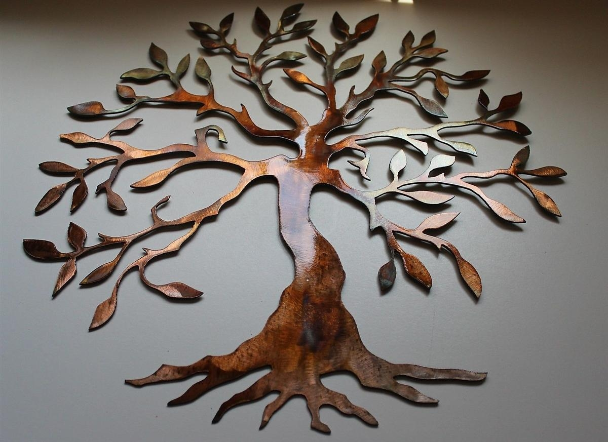 Large Metal Wall Art Decor Tree Regarding Oak