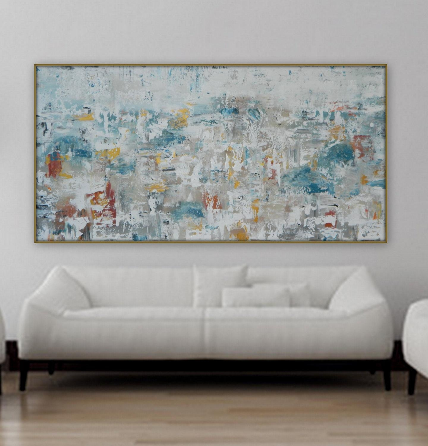Large Original Abstract Painting Modern Gold White Blue Grey And For Red White And Blue Wall Art (View 7 of 20)