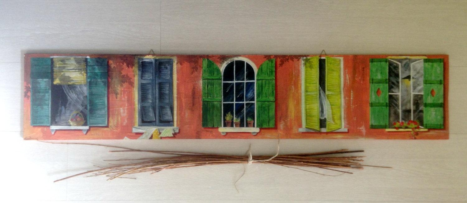 Large Painting On Wood Italian Windows/ Original Windows With Italian Wood Wall Art (Image 15 of 20)