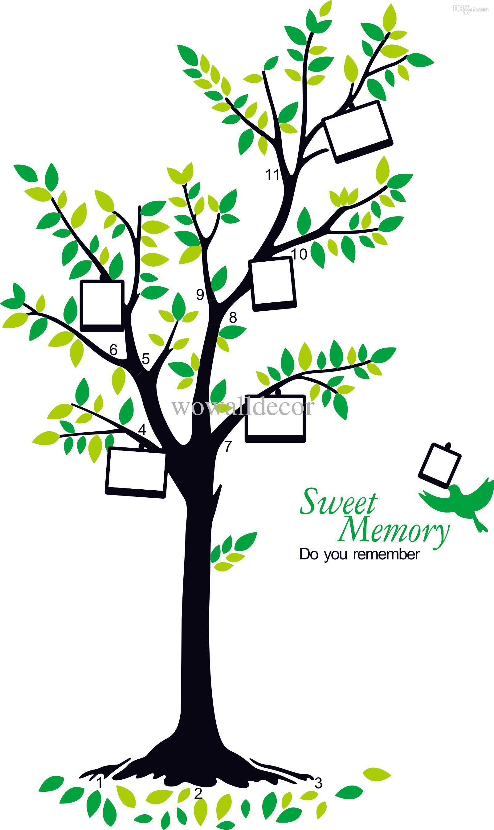 Large Removable Photo Frame Family Tree Wall Sticker Poster Regarding Family Wall Art Picture Frames (Image 11 of 20)