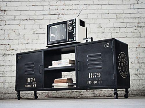 Large Retro Industrial Tv Stand Coffee Table Vintage Entertainment For Best And Newest Vintage Tv Stands For Sale (Image 14 of 20)