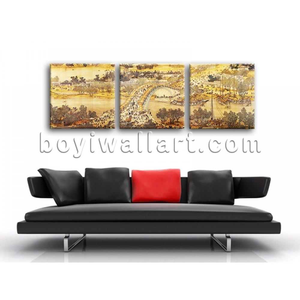 Large Riverside Scene At Qingming Festival Landscape Asian Decor With Regard To Asian Themed Wall Art (Image 12 of 20)