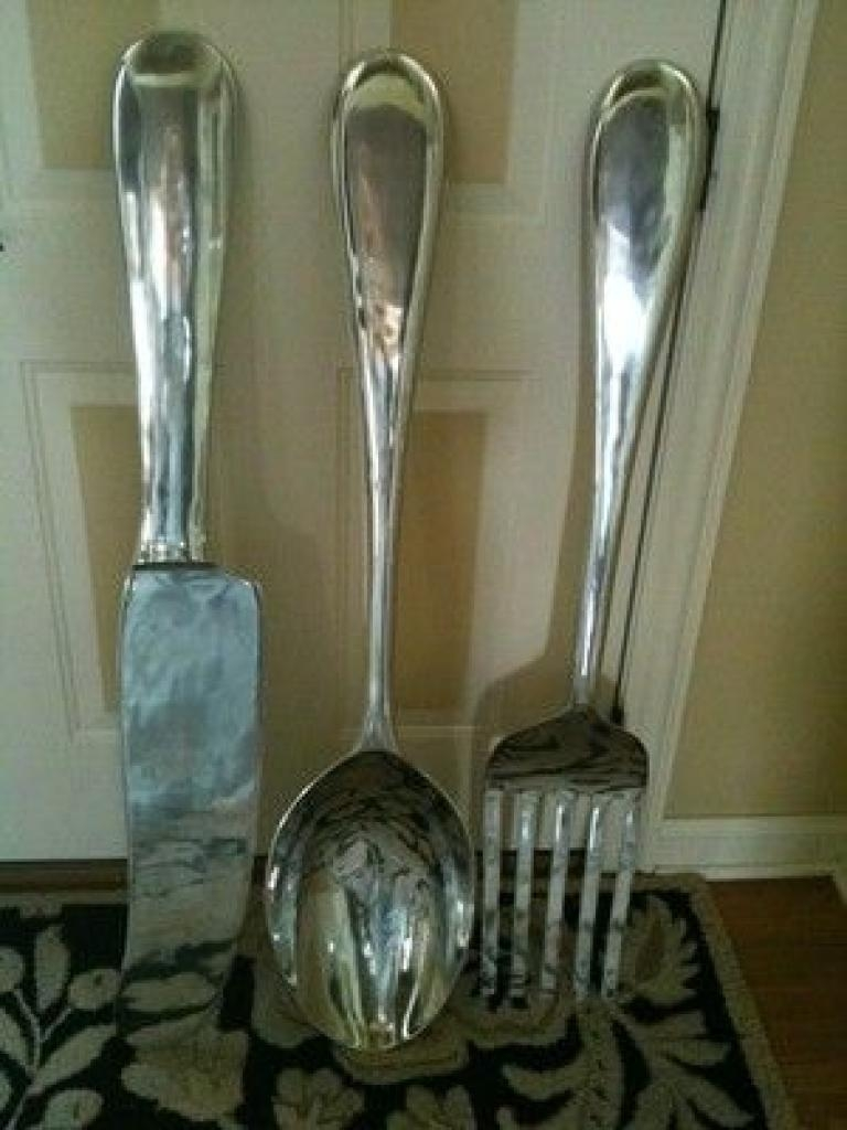 Large S/3 Silver Fork Knife Spoon Wall Decor Metal Utensil Art 36 Throughout Silverware Wall Art (Image 12 of 20)