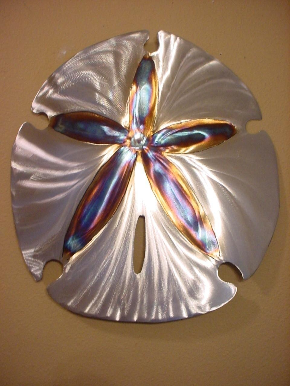 Large Sand Dollar Steel Wall Art Metal Ocean Beach House Throughout Sand Dollar Wall Art (Image 5 of 20)