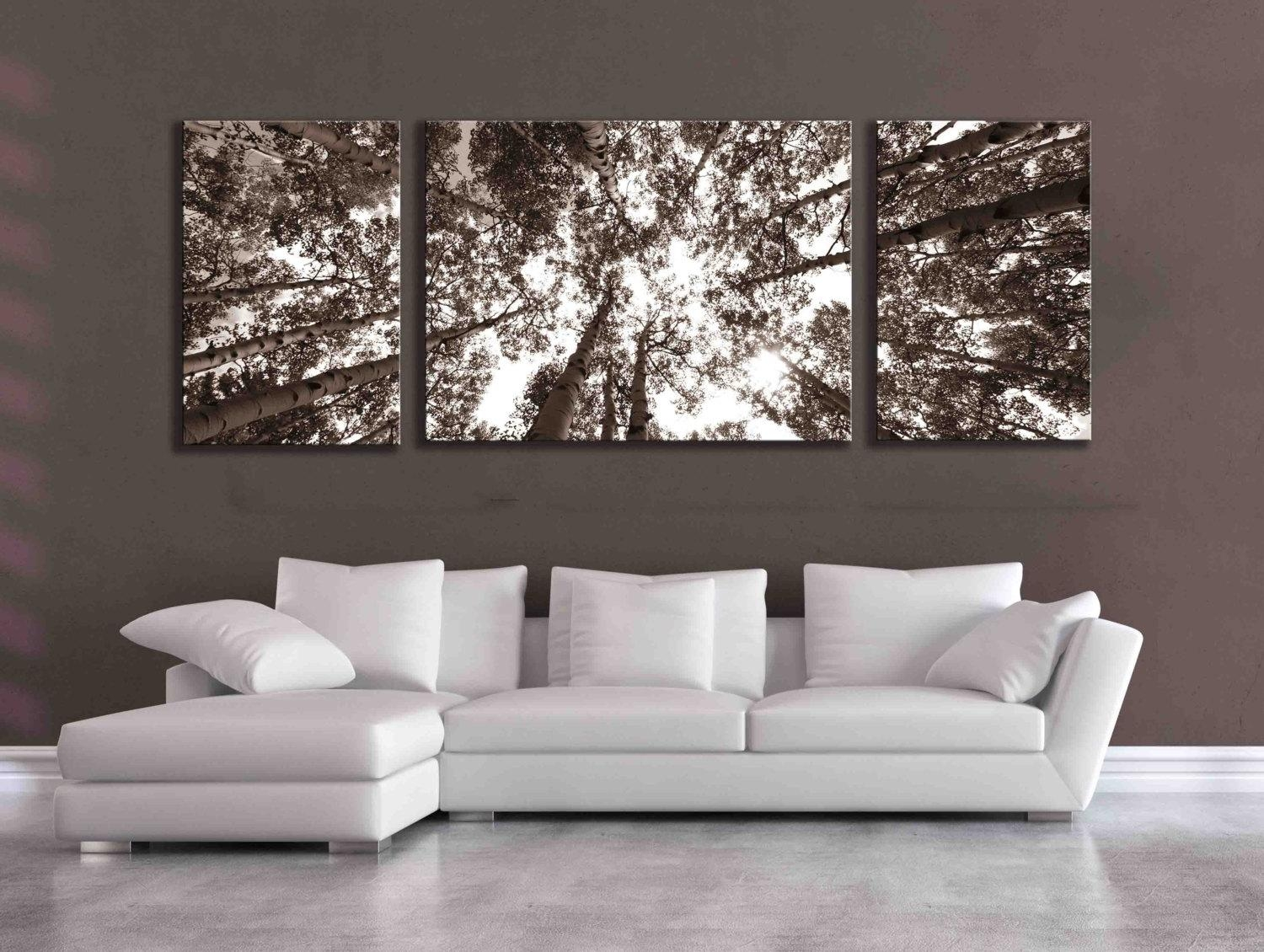 Large Sepia Three Panel Multi Piece Aspen Birch Tree Nature Throughout Wall Art Over Bed (Image 14 of 20)