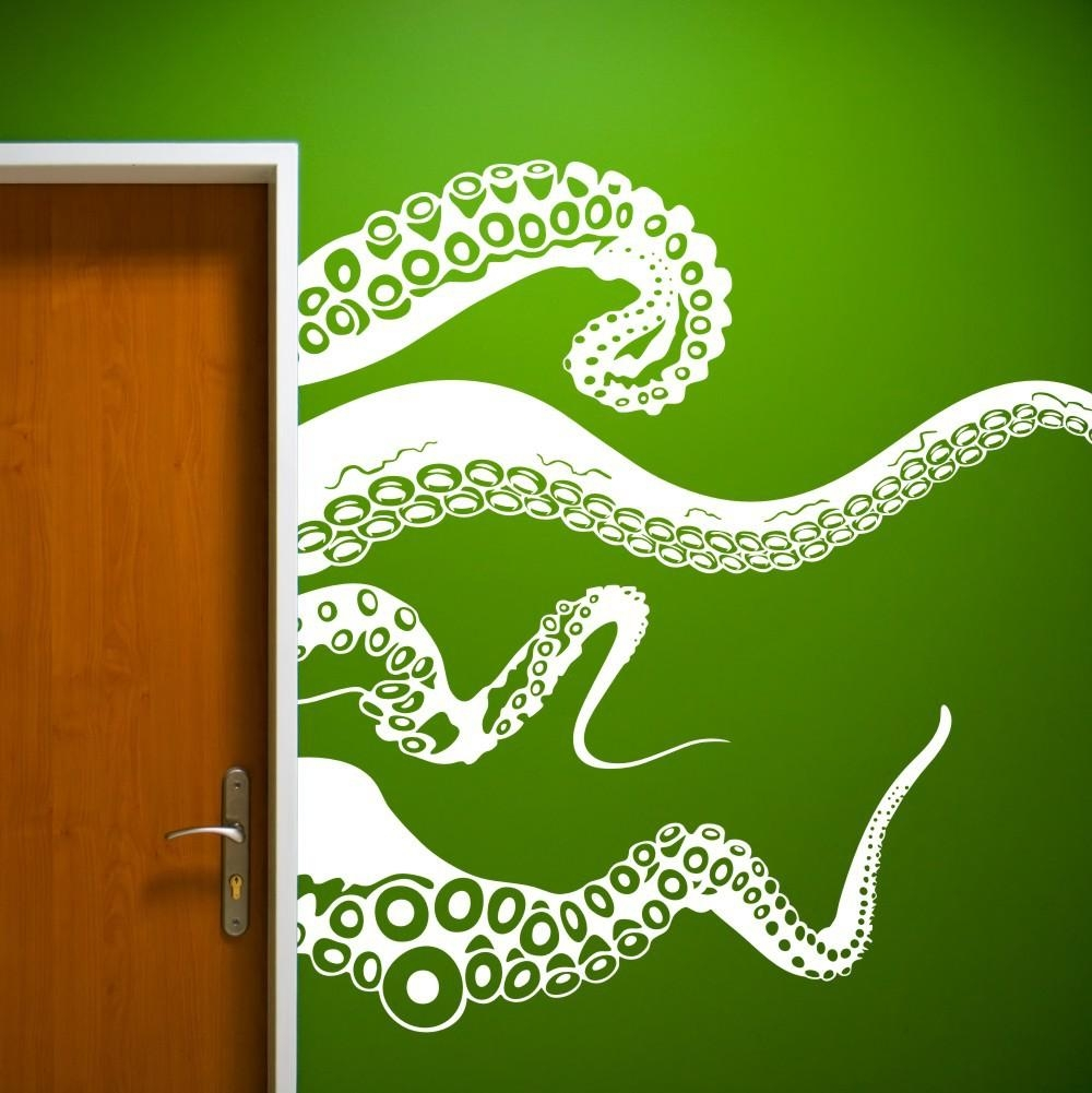 Large Size Kraken Octopus Tentacles Vinyl Wall Decal Home Throughout Octopus Tentacle Wall Art (View 19 of 20)