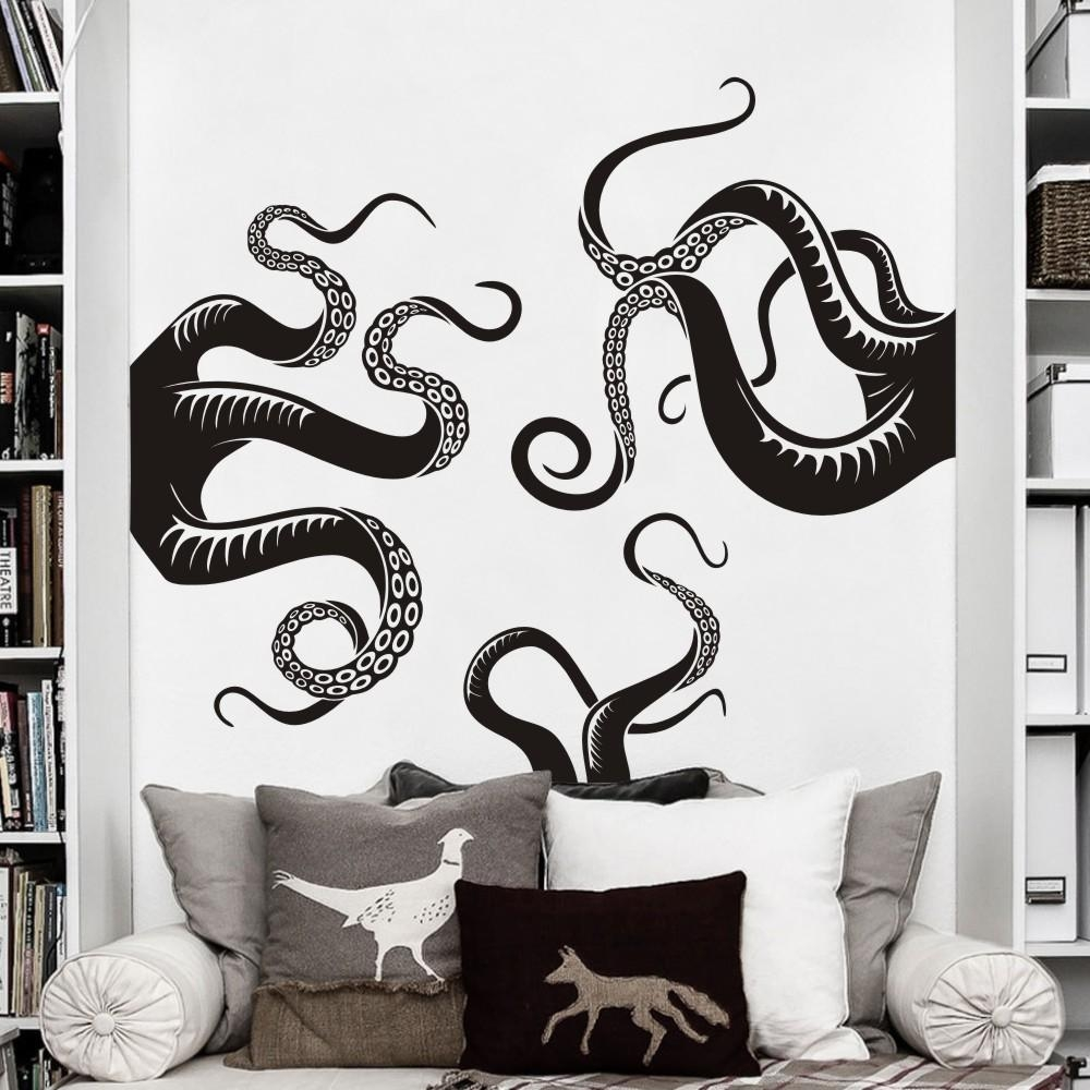 Large Size Octopus Tentacles Vinyl Wall Art Sea Monster Kraken Inside Octopus Tentacle Wall Art (Image 9 of 20)