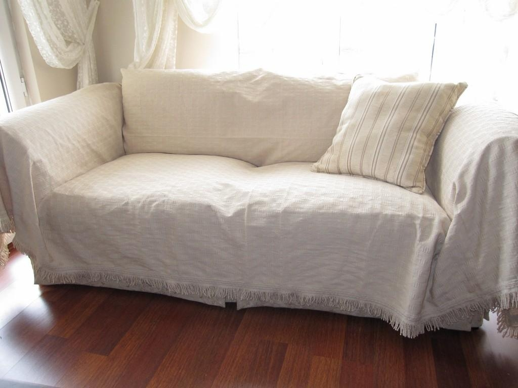 Large Sofa Throw Covers Rectangle Tassel Ivory Couch Throughout Etsy Sofas (View 2 of 20)