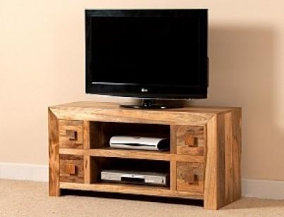 "Large Solid Wood Tv Unit | 42"" Mango Wood Tv Stand 