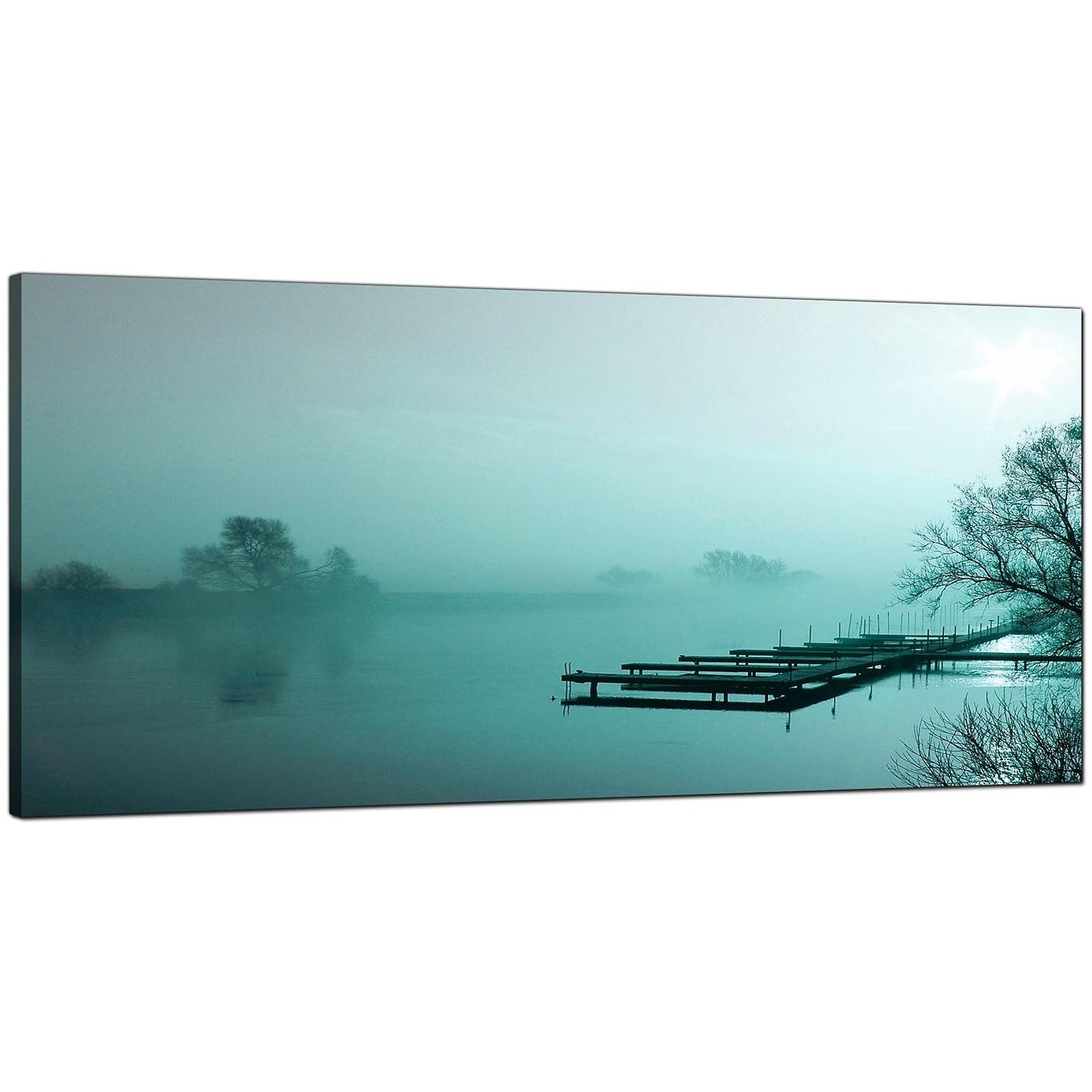 Large Teal Canvas Art Of A River Landscape Within Teal Wall Art Uk (Image 7 of 20)