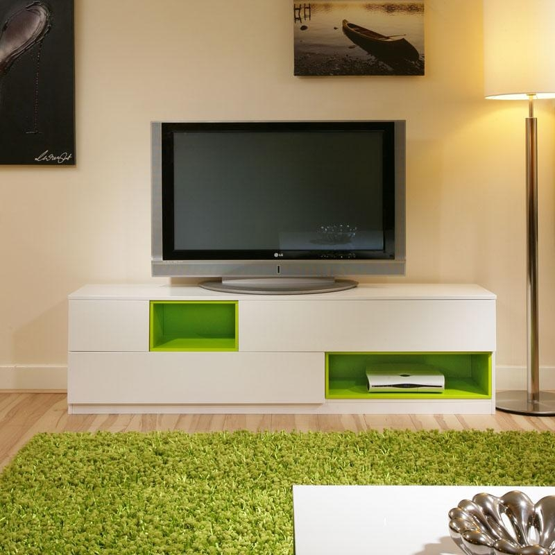 Large Tv/television Stand /cabinet/cabinets/unit White Gloss/green Pertaining To Most Up To Date Green Tv Stands (View 12 of 20)