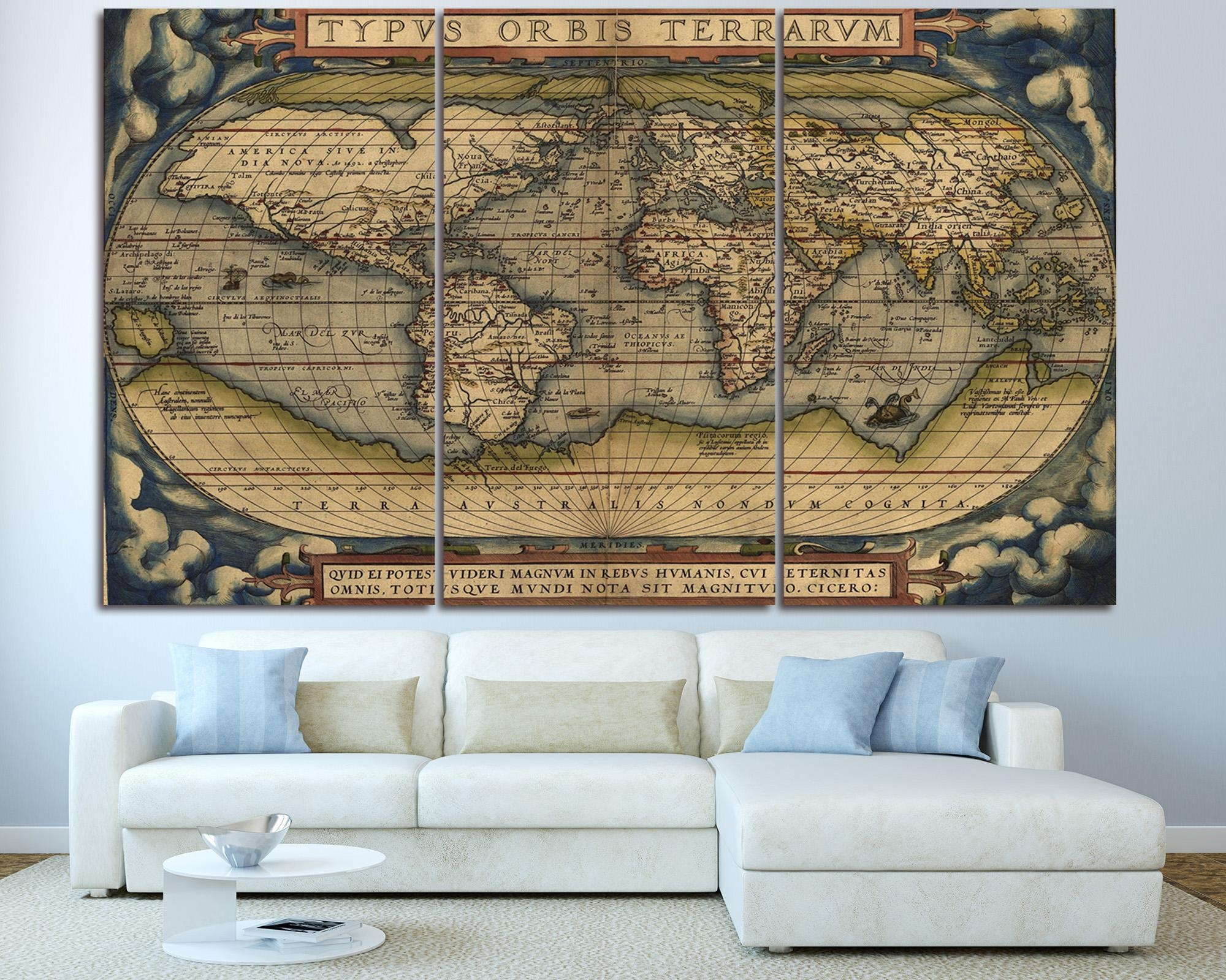 Large Vintage World Map 3 Panel Wall Art At Texelprintart Pertaining To Three Piece Canvas Wall Art (Image 12 of 20)