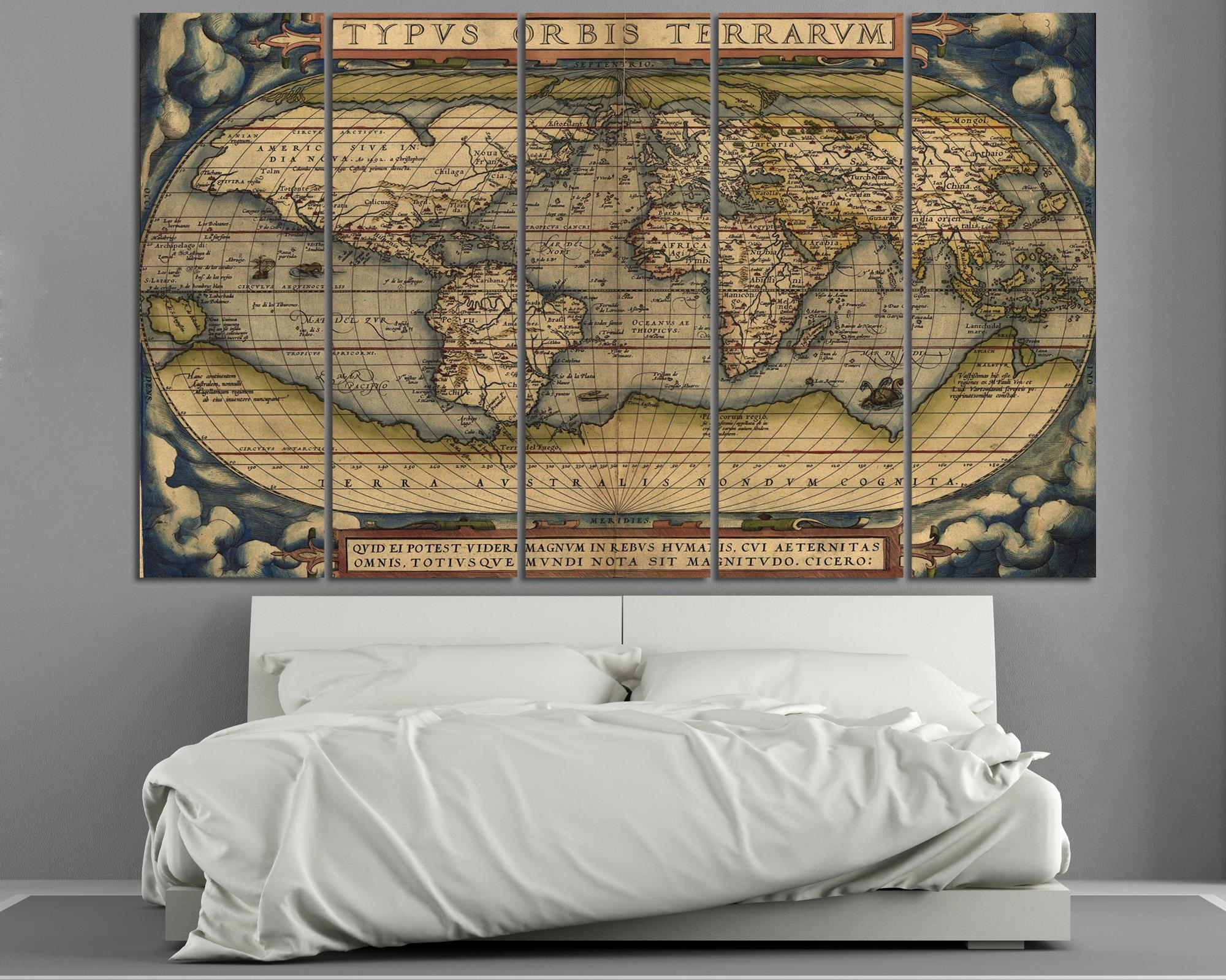 Large Vintage World Map 3 Panel Wall Art At Texelprintart Throughout Five Piece Wall Art (View 6 of 20)
