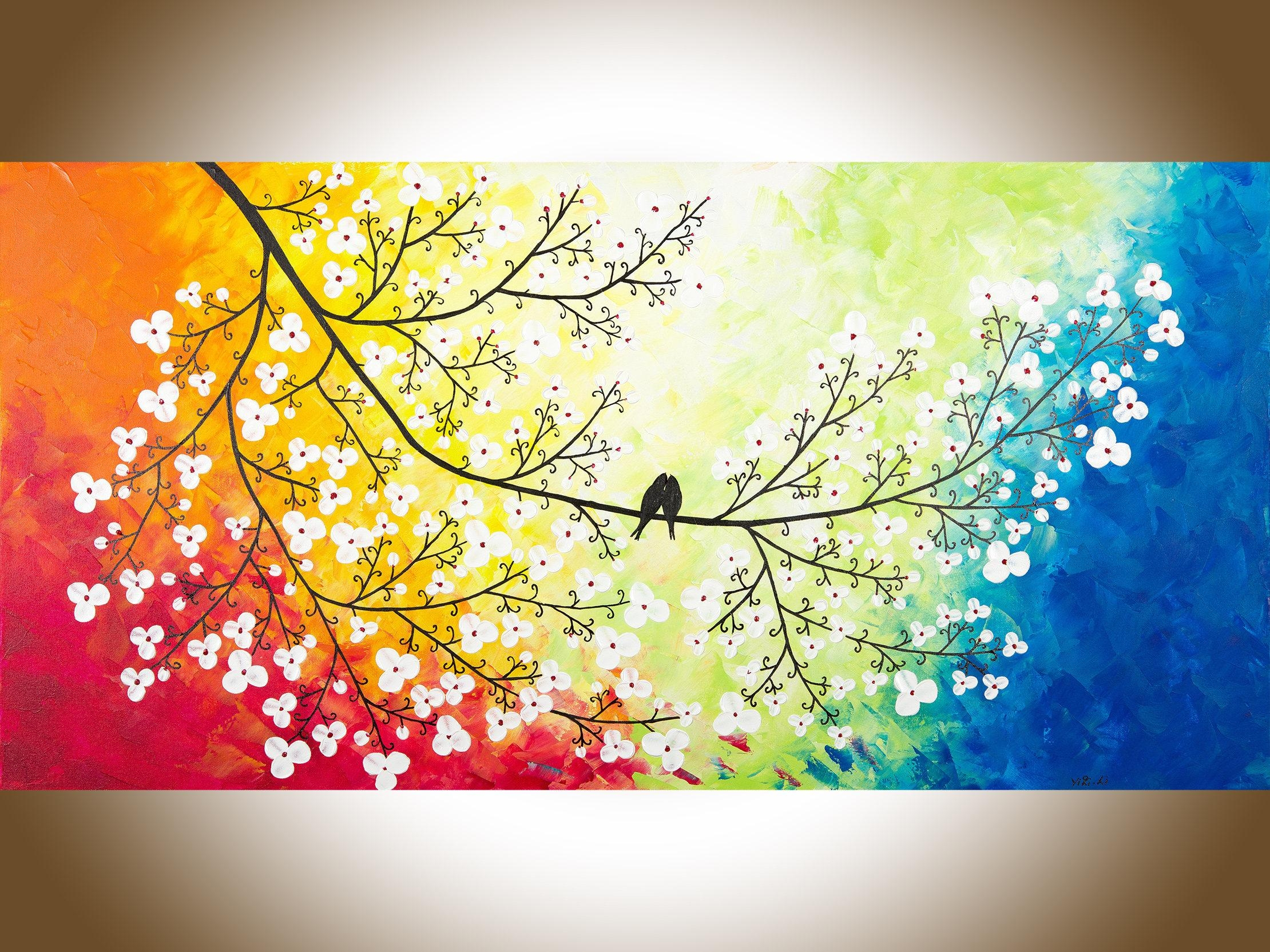 Large Wall Art Colourful Love Birds Art Red Yellow Orange Blue In Orange And Blue Wall Art (View 16 of 20)