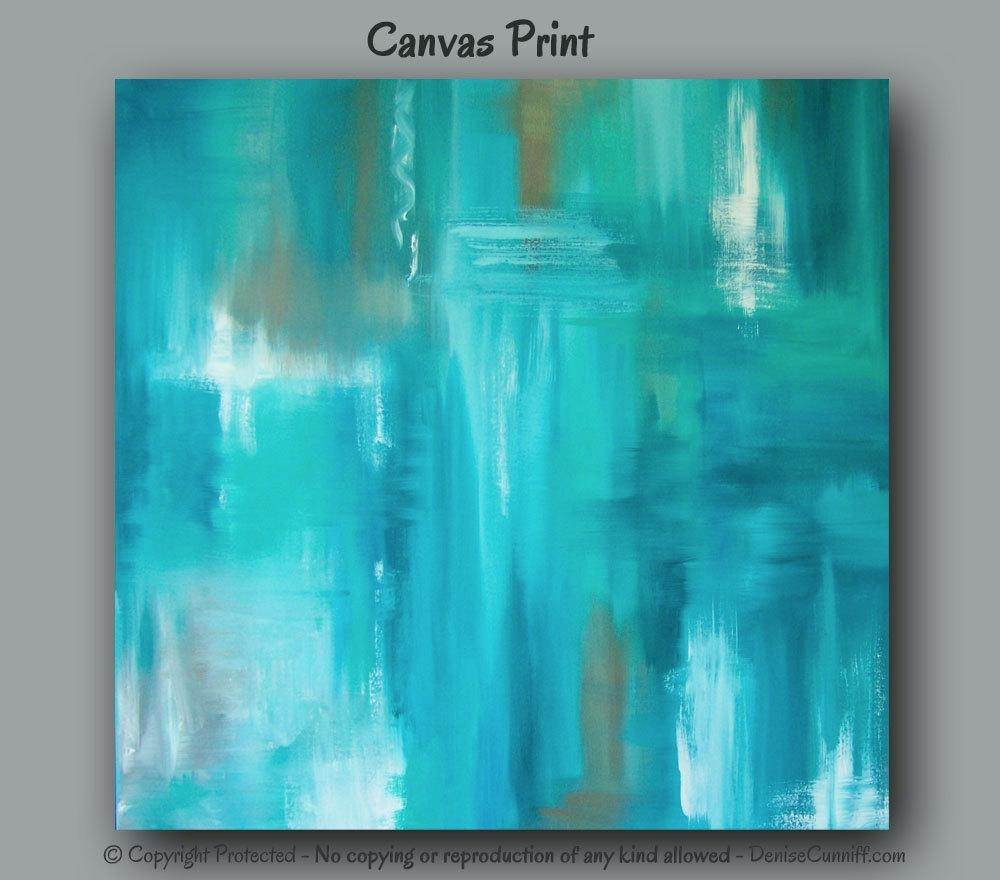 Large Wall Art Teal Abstract Canvas Art Print Teal Home For Teal And Green Wall Art (Image 12 of 20)