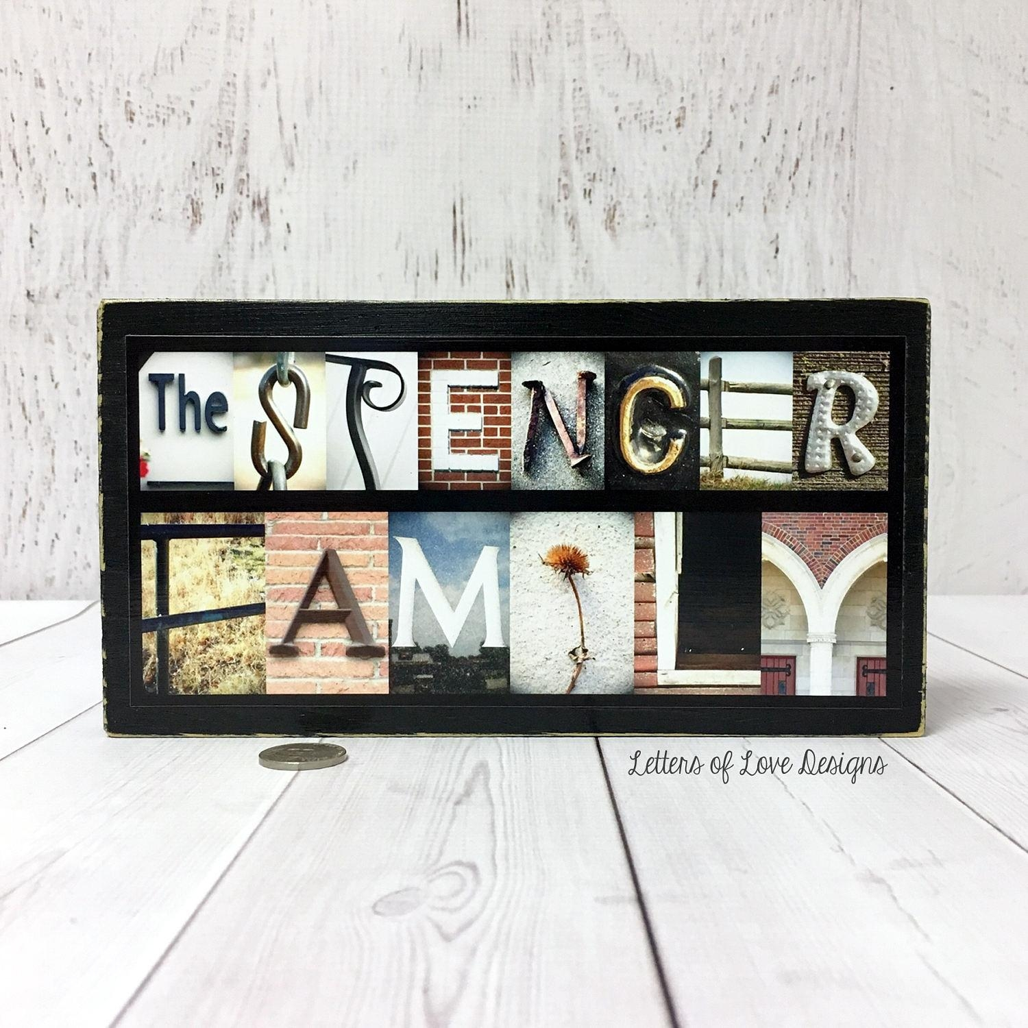 Last Name Wood Sign Custom Name Sign Family Name Sign Last With Regard To Custom Last Name Wall Art (Image 12 of 20)