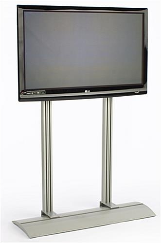 Lcd Stand | Silver Monitor Rack With Optional Wheels Inside Current Double Tv Stands (Image 12 of 20)