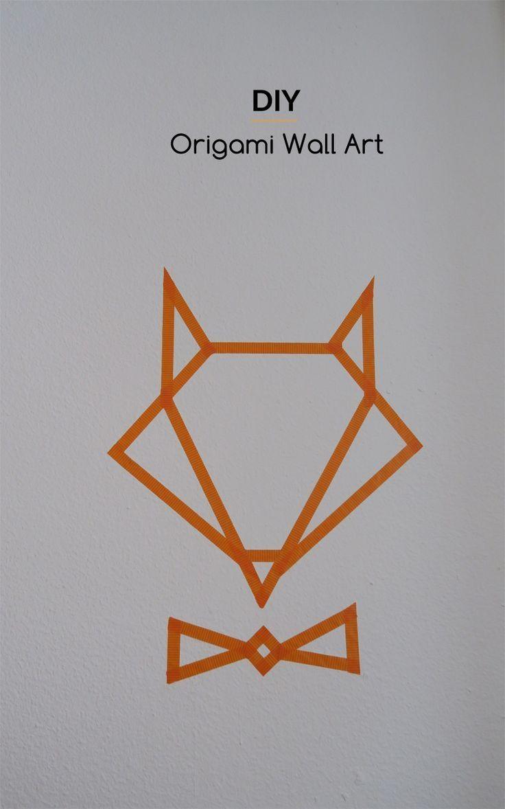 Le Diy Du Jour : Un Renard Façon Origami Réalisé Avec Du Washitape Intended For Diy Origami Wall Art (Image 13 of 20)
