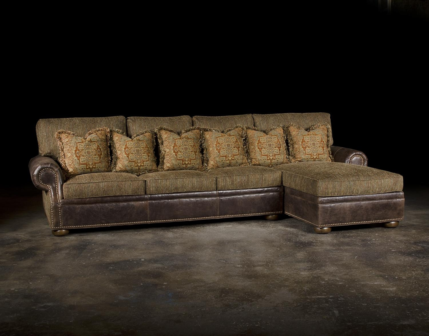 Leather Or Fabric Sofa And Sofa With Right Arm Chaise Leather Within Leather And Material Sofas (Image 13 of 21)