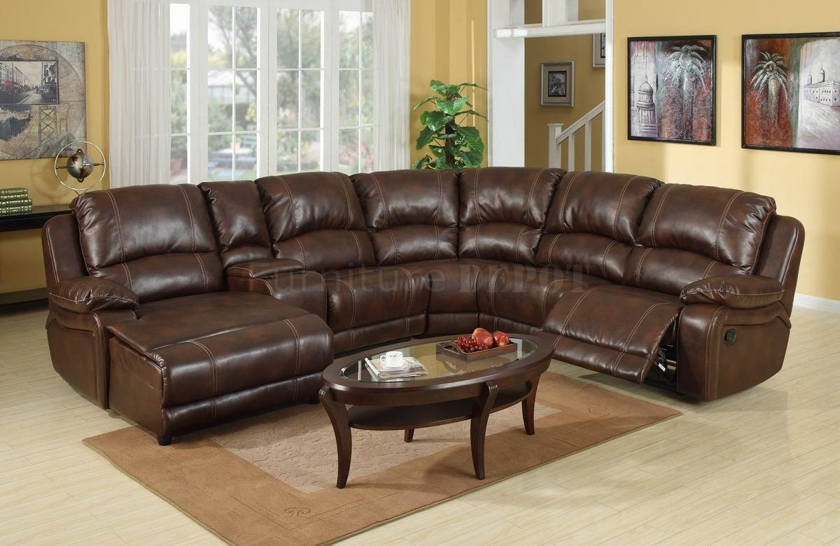 Leather Sectional Sofa With Recliner – Decofurnish Throughout Oval Sofas (Image 11 of 21)