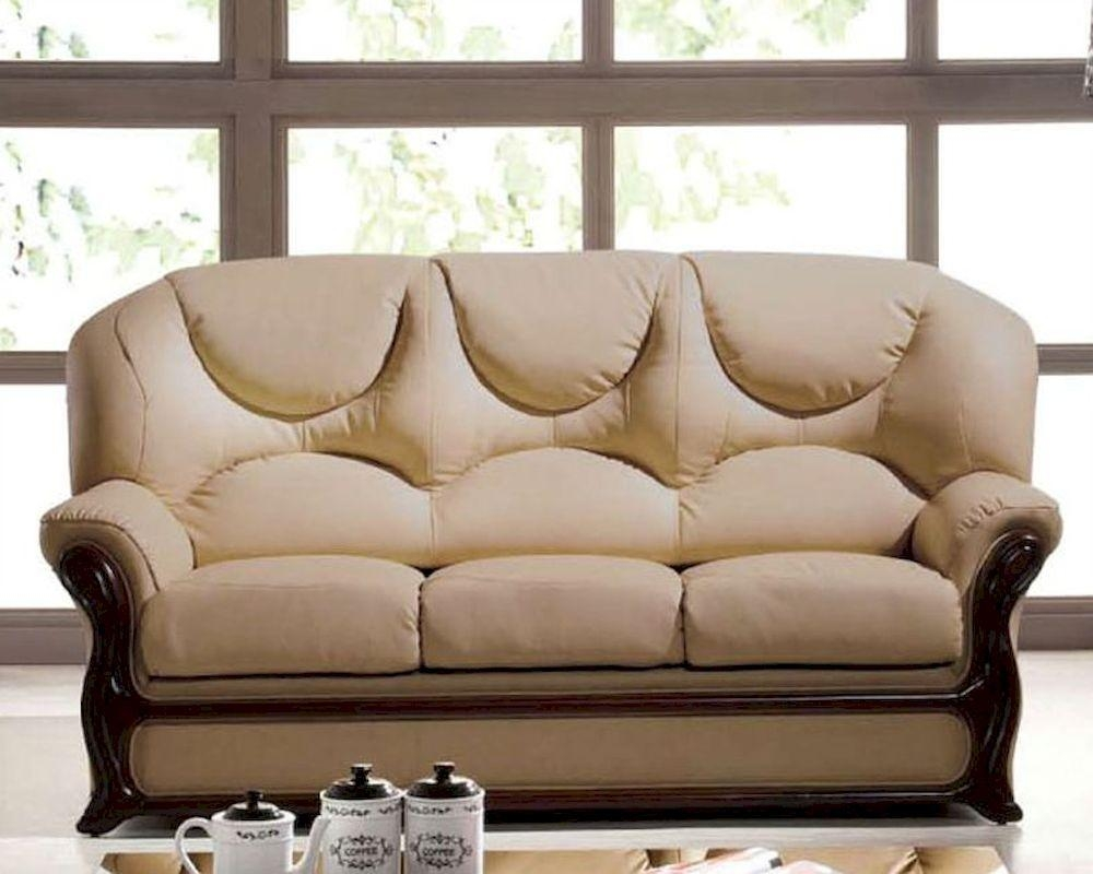 Leather Sofa Bed European Design In Beige Finish 33Ss282 Within European Leather Sofas (View 21 of 21)