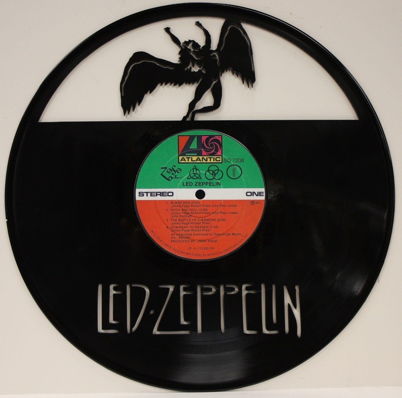 "Led Zeppelin Vinyl 12"" Lp Record Laser Cut Wall Art Display – Gold With Regard To Led Zeppelin Wall Art (Image 8 of 20)"