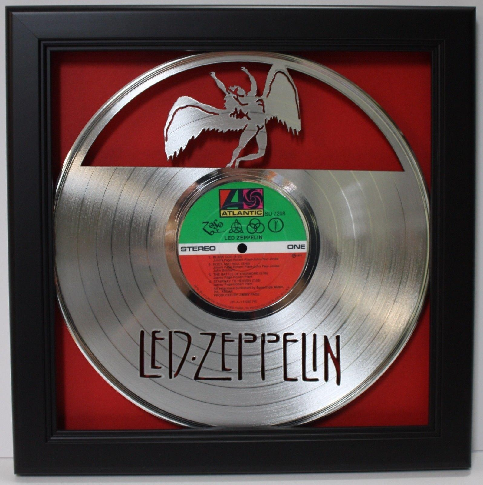 Led Zeppelin Zoso Lp Framed Laser Cut Platinum Vinyl Record In Within Led Zeppelin Wall Art (Image 12 of 20)