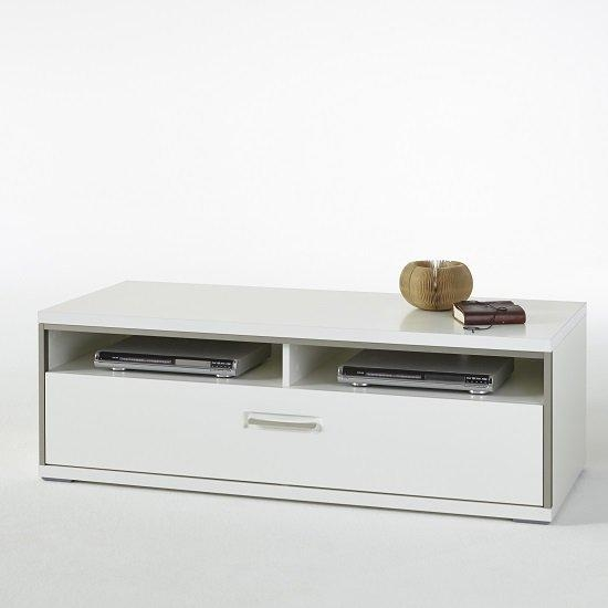 Libya Small Lcd Tv Stand In White High Gloss With 1 Drawer Within Current Small White Tv Stands (View 9 of 20)