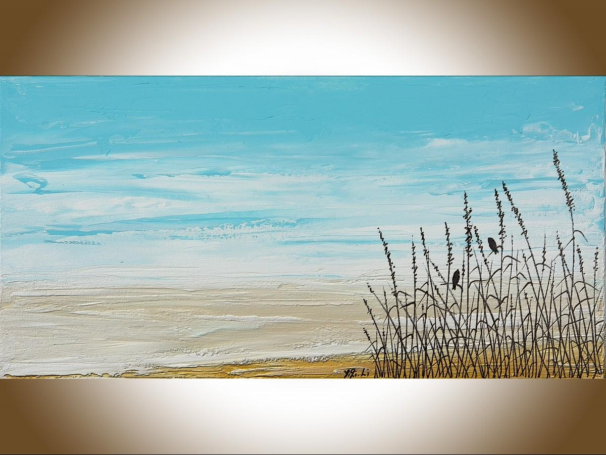 """Life On Beachqiqigallery 24"""" X 12"""" Birds Art Abstract In Blue And Brown Wall Art (Image 11 of 20)"""