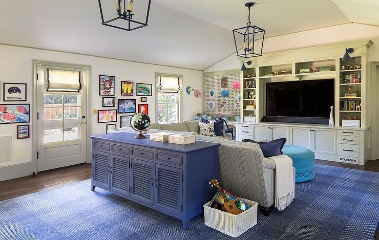Light Gray Linen Plush Sectional Facing A Floating Tv Stand Within Latest Playroom Tv Stands (View 11 of 20)
