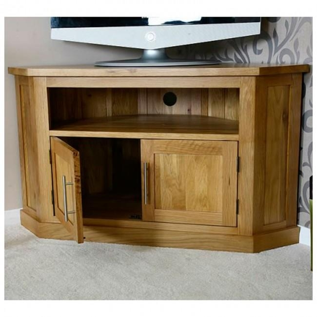 Light Solid Oak Corner Tv Stand | Best Price Guarantee With Regard To Most Up To Date Light Oak Corner Tv Cabinets (Image 10 of 20)