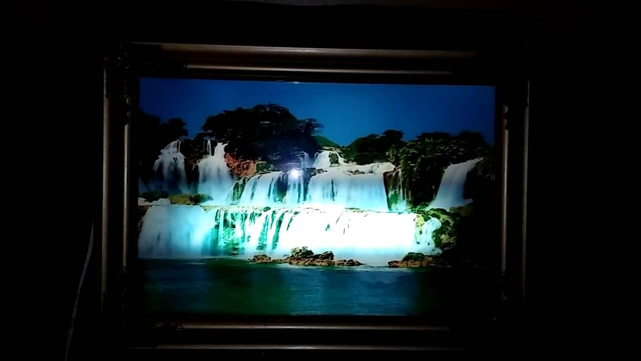 Lighted Motion And Sound Waterfall Picture – Youtube With Regard To Moving Waterfall Wall Art (View 16 of 20)