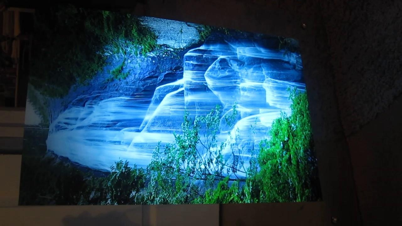 Lighted Moving Waterfall Picture With Mirror Frame – Youtube Intended For Moving Waterfall Wall Art (Image 7 of 20)