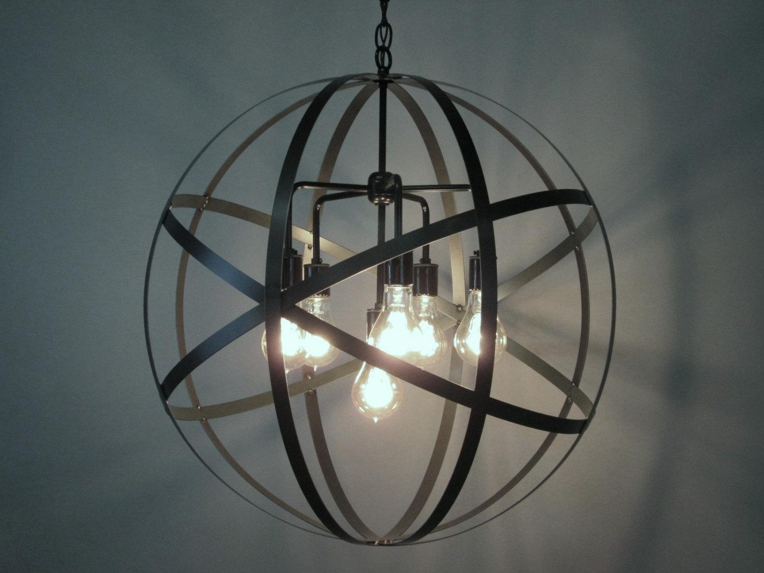 Lighting: Large Metal Orb Chandelier For Dining Rooms Chandeliers With Metal Chandelier Wall Art (View 16 of 20)