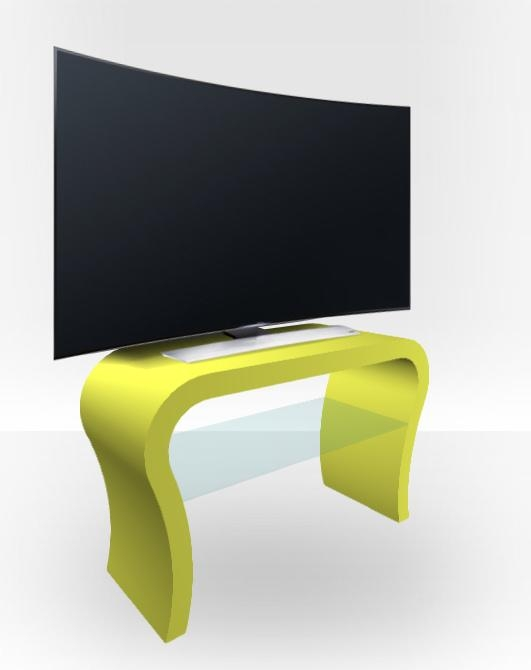 Lime Green Matt Tv Stand – Curved – Free Uk Delivery – Zespoke In Best And Newest Curve Tv Stands (Image 16 of 20)