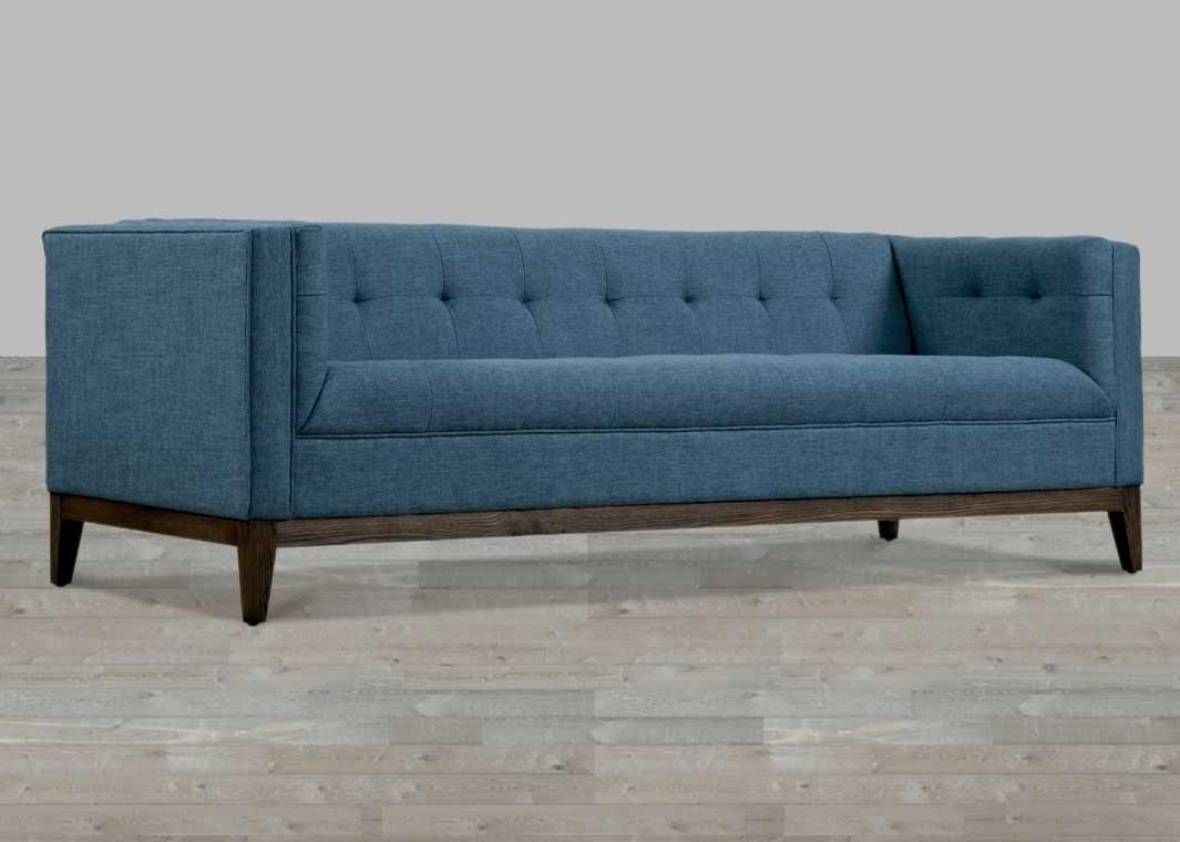 Linen Sofa Button Tufted Regarding Blue Tufted Sofas (Image 12 of 22)