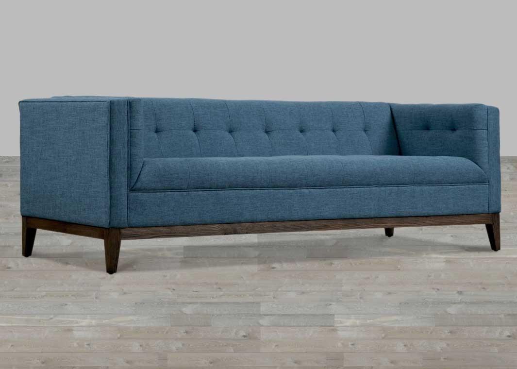 Linen Sofa Button Tufted Regarding Blue Tufted Sofas (View 2 of 22)