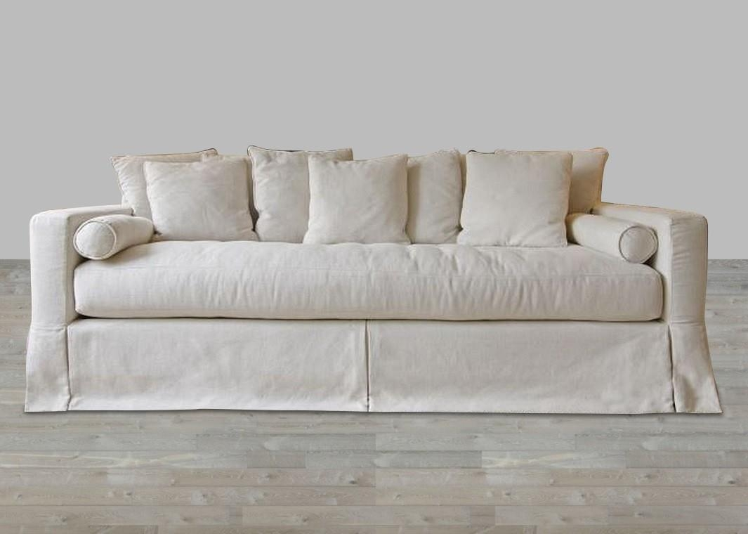 Linen Sofa Single Seat Cushion Throughout Deep Cushioned Sofas (View 10 of 22)