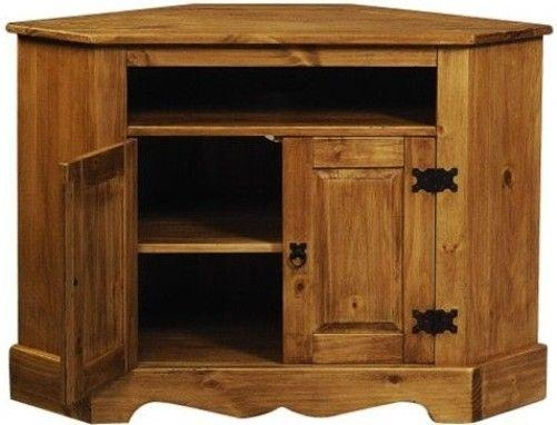 Linon 6222Sf 01 Kd U Santa Fe Rustic Corner Tv/vcr Stand Cabinet Intended For Latest Rustic Corner Tv Cabinets (Image 8 of 20)